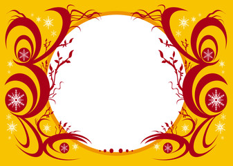 Christmas red swirls and flakes yellow frame