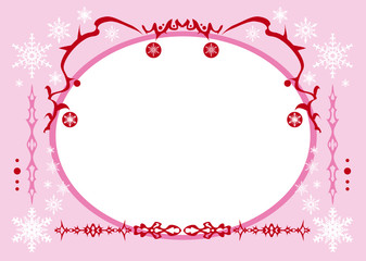 Christmas red squiggles border pink frame