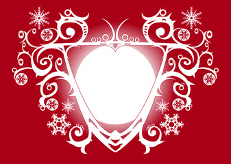 Christmas white shield red frame decoration