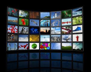 Wall of flat tv screens