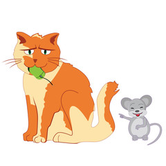 Mouse mocking cat vector