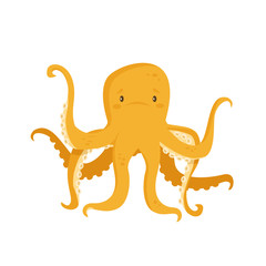 Cartoon octopus character , vector illsutration