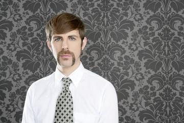 businessman retro mustache over gray wallpaper