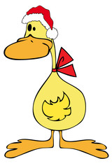 Duck with Santa Claus Hat.