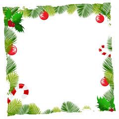 christmas balls and pine leafs