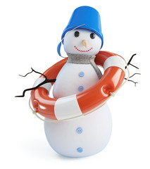 snow men lifebelt on a white background