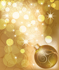 New year golden card with christmas ball. vector