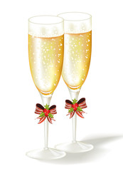 Two Christmas glasses of champagne.