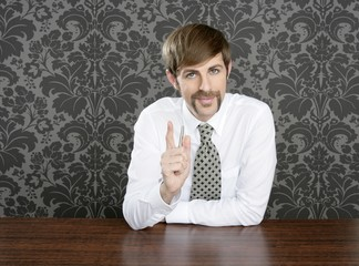 businessman retro on office table salesperson