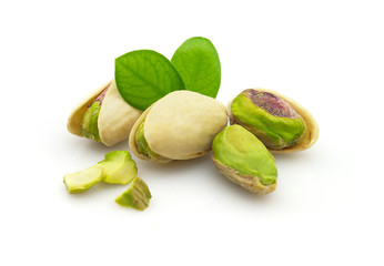 Tasty pistachio with leaves