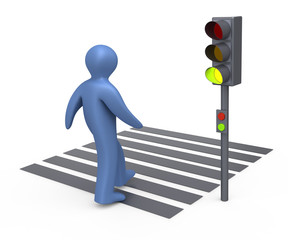 Semaphore, and pedestrian crosswalk