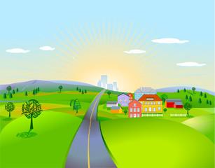 Landschaft mit Häusern