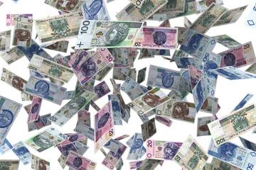 Polskie Banknoty    Spadające banknoty - deszcz pieniędzy