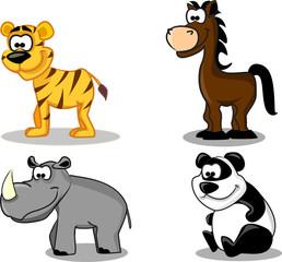 набор зверей включает тигра, коня, носорого, панду