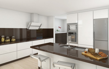 Modern kitchen white and brown