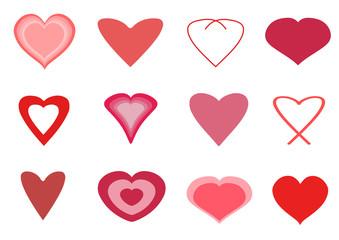 Heart icon set - vector illustration