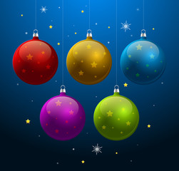 Blue christmas new year background with shiny Christmas balls