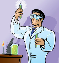 Papiers peints Comics Scientist mixing chemicals in a bold way.