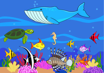 Aluminium Prints Submarine Sealife cartoon
