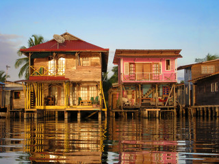 Caribbean houses over the water