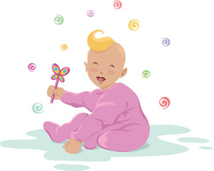 Illustration of cute laughing baby holding a toy