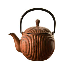 brown ribbed cast iron traditional japanese teapot