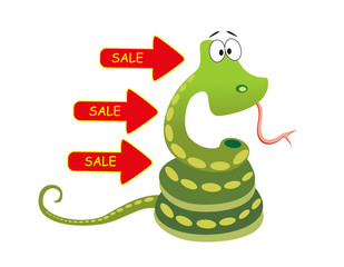 sale green snake on white background