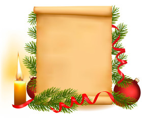 Christmas decoration on the old paper.  Vector illustration