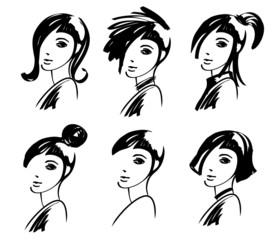woman hair style fashion drawings
