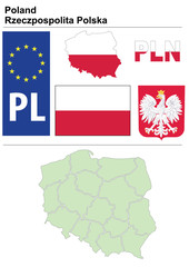 Poland collection including flag, plate, map