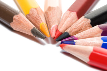 Closeup of many colored pencils