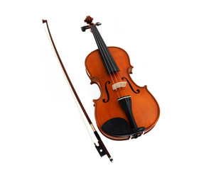Violin with fiddlestick isolated on white