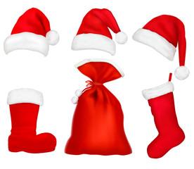 Three red Santa hats. Christmas stocking and boot. Vector.
