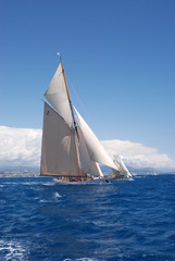 classic yacht under full sail