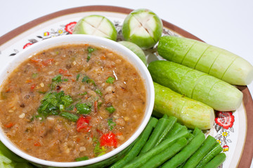 Thai food. Curry cooked vegetables.