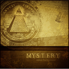 mystery background with all-seeing eye and old handwriting