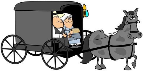 Amish Couple In A Buggy