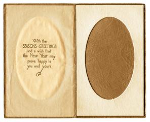 Original vintage christmas card photo frame inner.