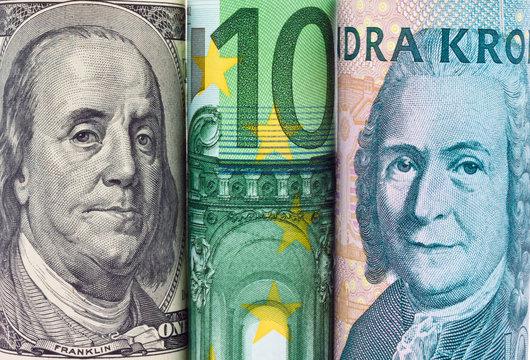 Schwedische Kronen. Verschiedene Währungen
