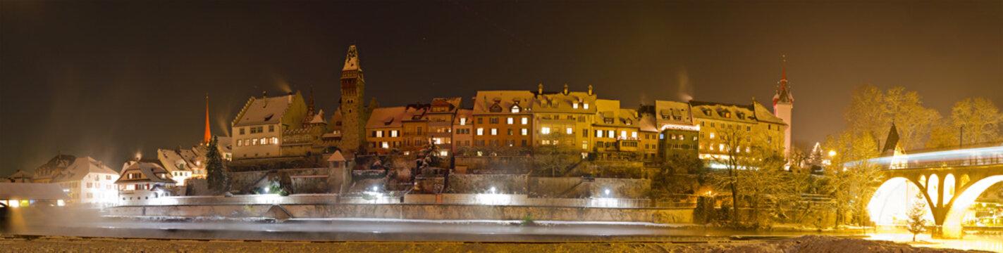 historic town Bremgarten in winter night