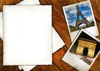 Old vintage background with Eiffel tower