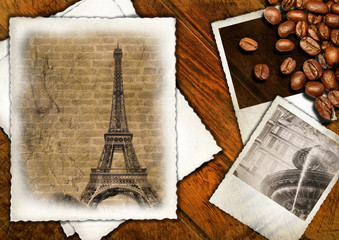 Aged papers and photo frames on wooden background