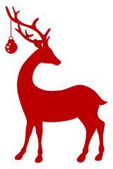 Standing Reindeer & Christmas Ball Red