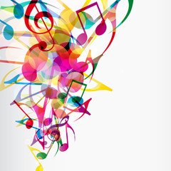 Abstract musical background with bright flying up notes and othe