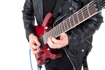 Rocker playing guitar