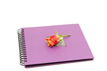 classic violet photo album isolated on white