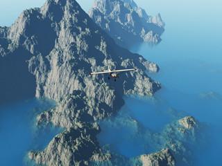 Avioneta sobrevolando un islote