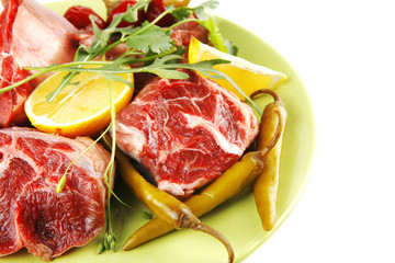 raw meat chunk on green plate