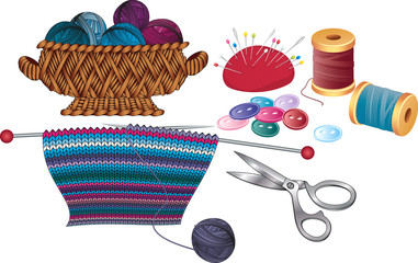 Items for knitting and sewing