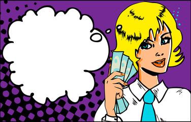 Portrait of cheerful business woman holding money on Pop Art Ret
